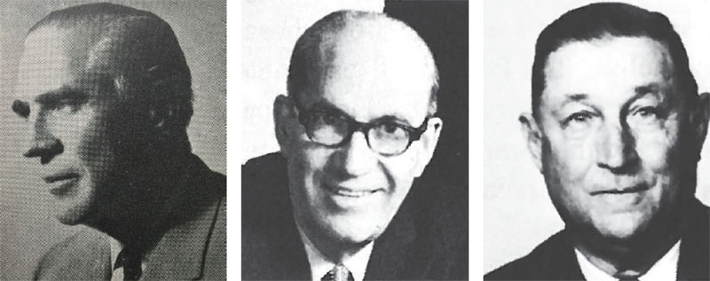 Walter B. Lyle (left), Toledo, Ohio, served two terms as CPLIA president, from 1960 to 1962. George K. Newman (center), Chicago, was GDCI president from 1961 to 1962. Granville Waggoner, Nashville, Tenn., was GDCI president from 1960 to 1961.