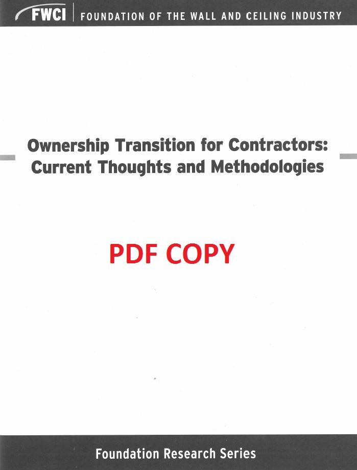Ownership Transition for Contractors: Current Thoughts and Methodologies (PDF Version) - 139a